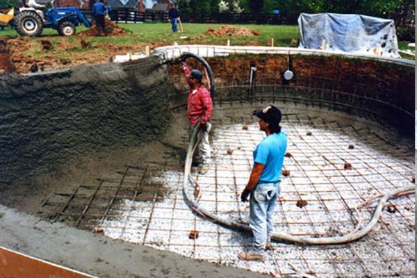 Shot concrete to Form A Pool Shell